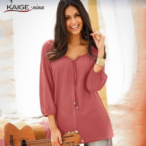 Women Blouse Spring Solid Color Top Quality Long Sleeve Chic Elegant Office For Women Thumbnail