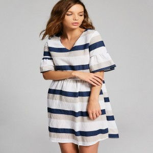 Women Casual Summer Dress Cut Out Half Flare Sleeve Striped Dresses V Neck A Line Female Mini Dress Hollow Out Vestidos