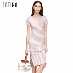 Women Casual Summer Dress Short Sleeve O Neck Bodycon Dress Striped Side Split T Shirt Womens Slim Fit Dresses