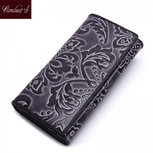 Women Clutch Floral Print Genuine Leather Wallet New Design Long Purse Vintage Coin Purse Women Thumbnail