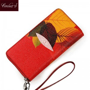 Women Clutch Wallet Maple Print Design Zip Around Ladies Leaf Pattern Wallet Phone Holder Thumbnail