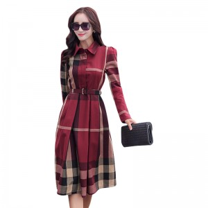 Women Dress Plaid Dress A Line  Long Sleeve Slim Autumn Elegant Dress Work Wear Office Dress Plus Size