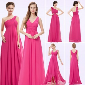 Women Elegant Long Bridesmaid Dresses Peachy Pink A Line V Neck Sleeveless Chiffon Party Dresses For Wedding