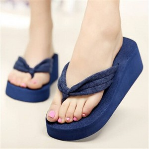 Women Flip Flop Wedges Thick Heel Sandals Slippers Indoor Outdoor For Women Thumbnail