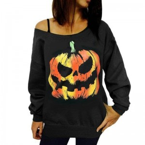 Women Halloween Tops Tees For Women Off Shoulder Sweatshirts Hoodies Female Top Class Autumn Outwear