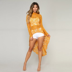 Women High Waist Elegant Long Sleeve Sexy Dress Denim Shorts Cover Ups Long Irregular Lace Dress For Ladies