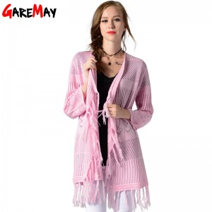 Women Long Cardigan Thin Knitted Coat Solid Color Open Sweater Outwear For Women