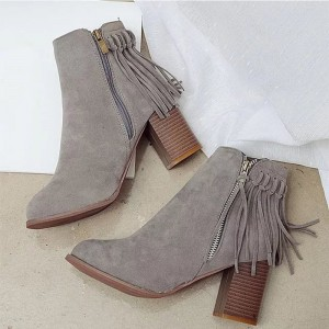 Women Pointed Toe Ankle Boots Fashion Faux Fur Suede Tassel Winter Thick heel Boots Female Leather Shoes