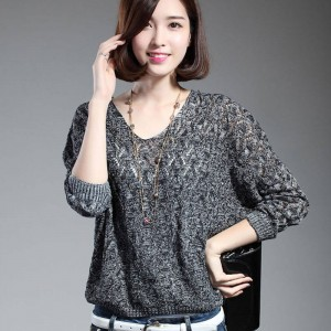 Women Pullover Lady Bat Sleeve Casual Hollow Out Transparent Thin Sexy Sweaters Women