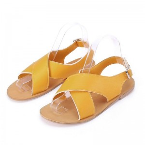 Women Round Toe Breathable Buckle Strap Beach Sandals Rome Gladiator Design Casual Flat Shoes