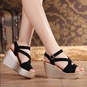 Women Sandals New Summer Style Open Toe High Heel Fish Head Wedge Sandals Female Shoes