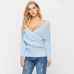 Women Sexy Deep V Neck Sweater Cardigan For Ladies Loose Pullover Sweatshirt Autumn Winter Outfit For Females