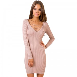 Women Sexy V Neck Dresses Knitted Dress Above Knee Bandage Sexy Mini Pretty Inner Dress For Ladies