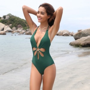 Women Sexy V Neck High Cut Halter One Piece Backless Bikini Swimsuits Floral Cut Front Side One Piece Swimsuit