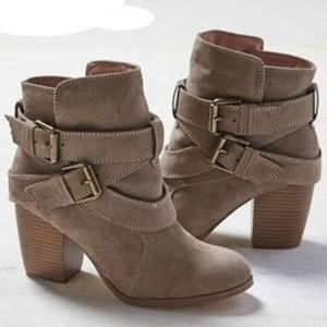 Women Snow Boots Warm Winter Autumn Shoes Casual Ladies Martin Boots Suede Leather Ankle Boots High Heels