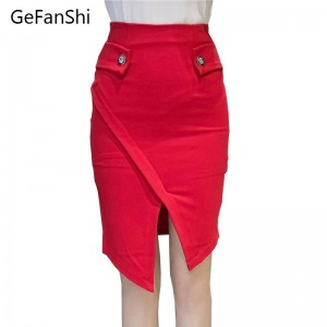 Women Summer Pencil Skirts Plus Size Knee Length Casual With Buttons Elegant Elastic Thumbnail