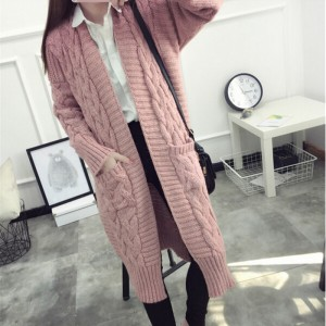 Women Sweaters Autumn Winter Casual Loose Knitting Twisted Cardigan Sweater Thicken Female Long Cardigans pull femme