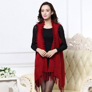 Women Tassel Rabbit Fur Knitted Vest Warm Winter Cardigan Outwear Jacket For Women