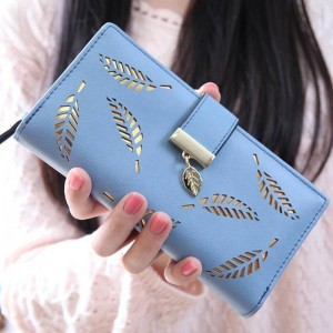 Women Wallets Leaf Leather Clutch Cardholder Purse Lady Long Handbag New Thumbnail