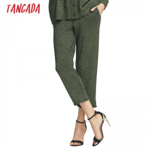 Women Wire Knitting Green Trousers Bow Drawstring Pocket Casual Straight Pants For Women Thumbnail