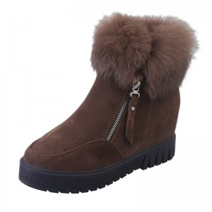 Women Zipper Ankle Boots New Fashion Plus Velvet Heightening Boots Wedge Platform Winter Warm Snow Shoes For Female