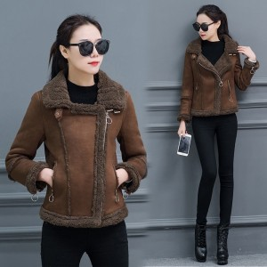 Womens Fleece Winter Coat Warm Jacket Female 2019 New Buckskin Lambswool Women Outwear Motorcycle Jacket High Quality