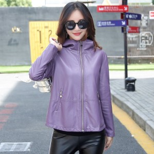 Womens Leather Jacket 3XL 2019 Winter Coat Female Loose Plus Size Hooded Solid Leather Female Outwear