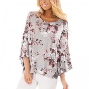 Womens Tops and Blouses Feminine Boho Floral Print Long Sleeve Blouse Flare Sleeve Ladies Top Tunic Woman Clothes