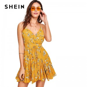 Yellow Cami Dress Drawstring Waist Knot Back Floral Printed Spaghetti Straps Dress Sleeveless High Waist Boho Dress