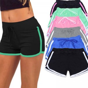 Yoga Drawstring Loose Cotton Contrast Binding Side Shorts Latest For Women Thumbnail