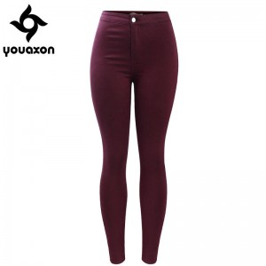 Youaxon Burgundy Elastic Denim Jeans Pants Trousers Skinny Pencil High Waist For Women Thumbnail