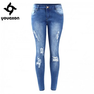 Youaxon Ripped Faded True Denim Skinny Distressed Pencil Pants For Women Thumbnail