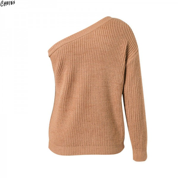 2 Colors One Shoulder Knitted Sweater Autumn Women Long Sleeve Asymmetric Design Casual Fall Pullover Top Extra Image 3
