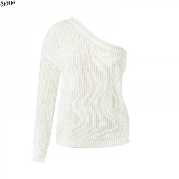 2 Colors One Shoulder Knitted Sweater Autumn Women Long Sleeve Asymmetric Design Casual Fall Pullover Top Extra Image 4