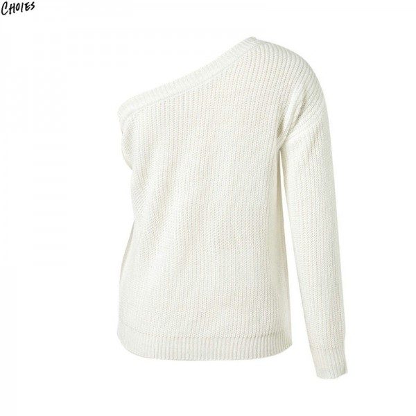 2 Colors One Shoulder Knitted Sweater Autumn Women Long Sleeve Asymmetric Design Casual Fall Pullover Top Extra Image 5