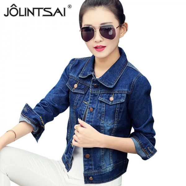 2016 New Spring Women Jean Jackets Korean Short Casual Denim Jacket Women Coat Long Sleeve Outerwear abrigos mujer Extra Image 1