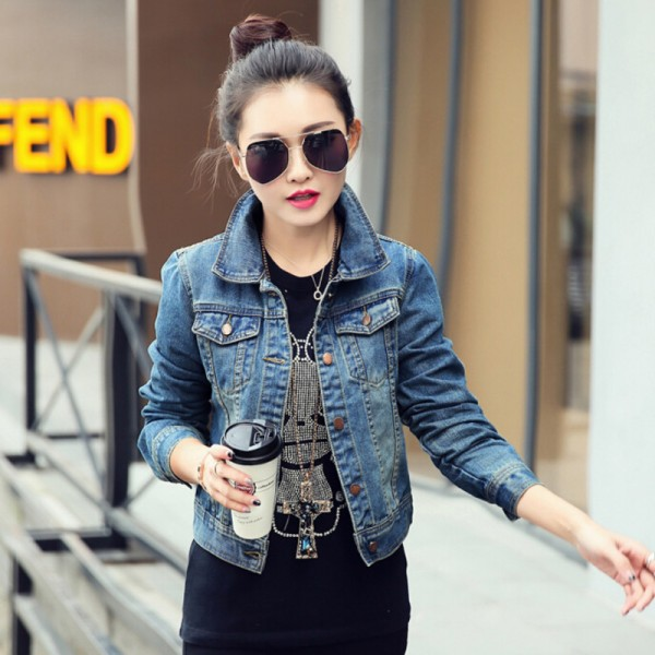 2016 New Spring Women Jean Jackets Korean Short Casual Denim Jacket Women Coat Long Sleeve Outerwear abrigos mujer Extra Image 3
