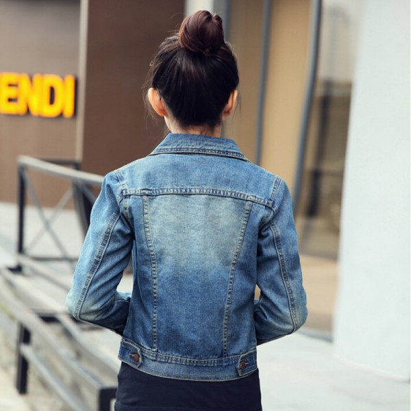 2016 New Spring Women Jean Jackets Korean Short Casual Denim Jacket Women Coat Long Sleeve Outerwear abrigos mujer Extra Image 4