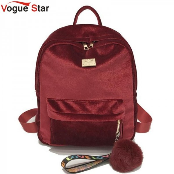 2018 Autumn Winter Backpack For Women Velvet School Bags Shoulder Bags Fashion Designer Female Backpack Extra Image 1