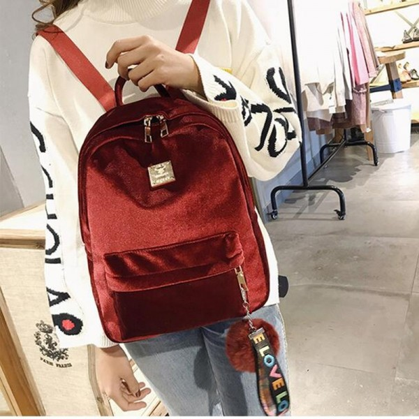 2018 Autumn Winter Backpack For Women Velvet School Bags Shoulder Bags Fashion Designer Female Backpack Extra Image 2