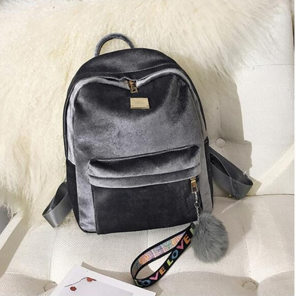 2018 Autumn Winter Backpack For Women Velvet School Bags Shoulder Bags Fashion Designer Female Backpack Extra Image 5