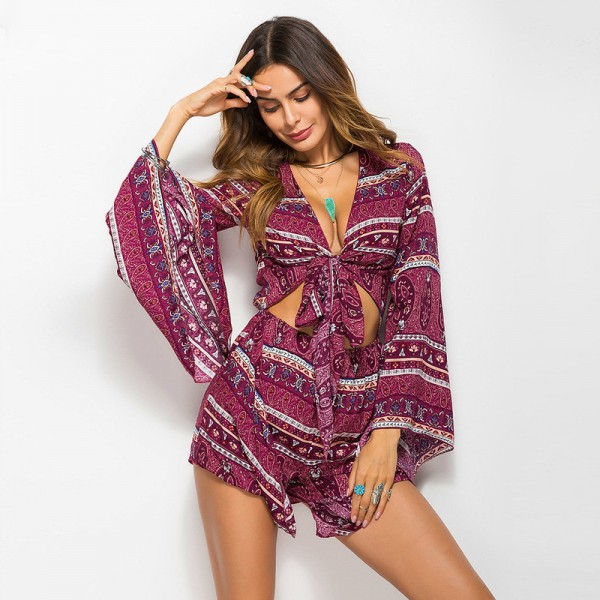 b7c64781d0f5 Buy 2018 Boho Rompers Summer Jumpsuits Floral Printed Playsuits Beach Style  Retro Long Sleeve Overall Bodysuit