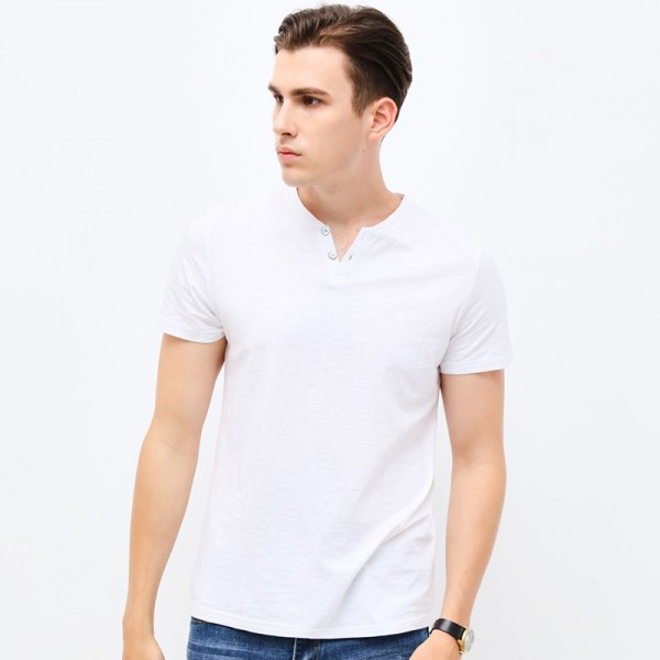 2018 Fashion Brand Clothing Tshirt Men V Neck Slim Fit Short Sleeve T Shirt Men Mercerized Cotton Casual T Shirts Extra Image 4