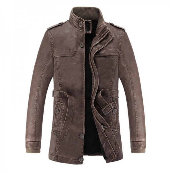 Buy 2018 Hot And Cold Winter Jacket PU Leather Motorcycle Male Leather Jacket Men Coat Free Long ...