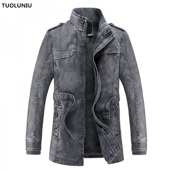 2018 hot and cold winter jacket PU leather motorcycle male leather jacket men coat free Long Jackets For Men Extra Image 1