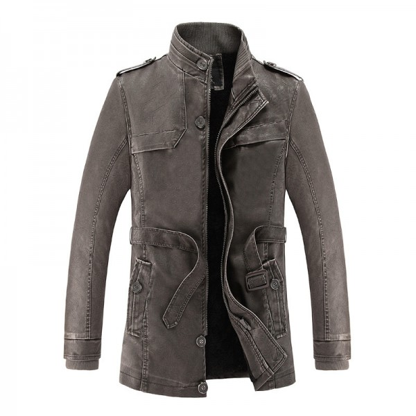 2018 hot and cold winter jacket PU leather motorcycle male leather jacket men coat free Long Jackets For Men Extra Image 3
