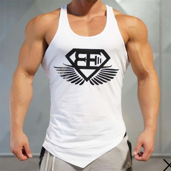 2018 Men Summer New Fitness Sleeveless Quick Drying Breathable Vest Aesthetic Cotton Printing Casual Oblique Hem Tops