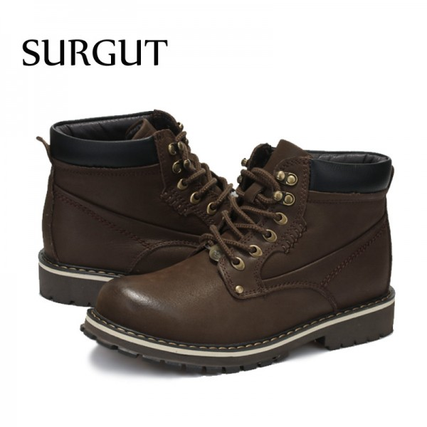 2018 Mens Genuine Leather Boots Winter Warm Fur Working Boots Mountain Shoes Vintage High Quality Men Ankle Boots Extra Image 5