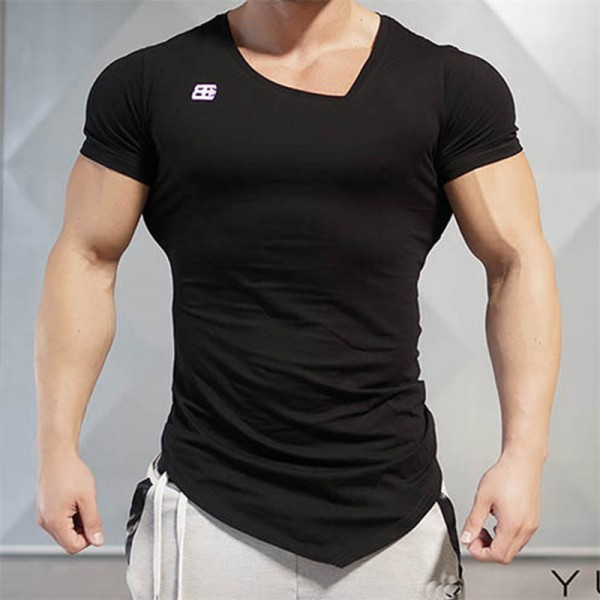 2018 New Design Male Novelty Men T shirt Fashion Bodybuilding Body Engineers Irregular Hem Short Sleeve T Shirt Tops Extra Image 2