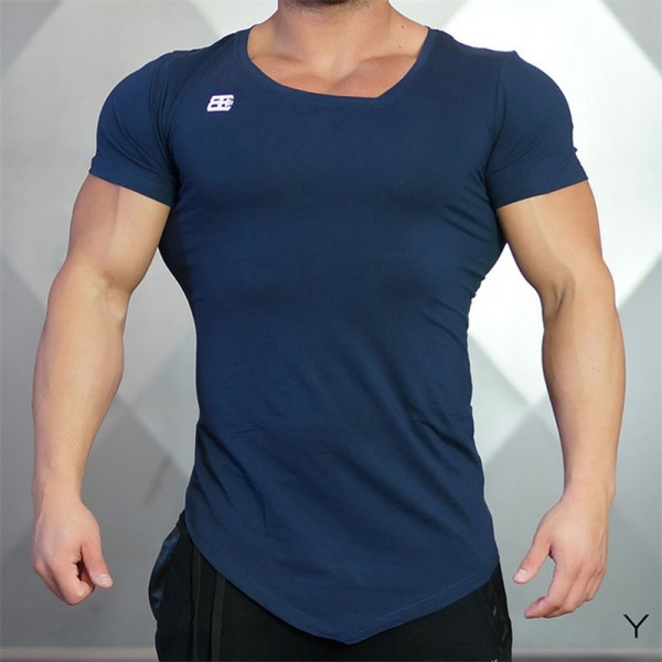 2018 New Design Male Novelty Men T shirt Fashion Bodybuilding Body Engineers Irregular Hem Short Sleeve T Shirt Tops Extra Image 3
